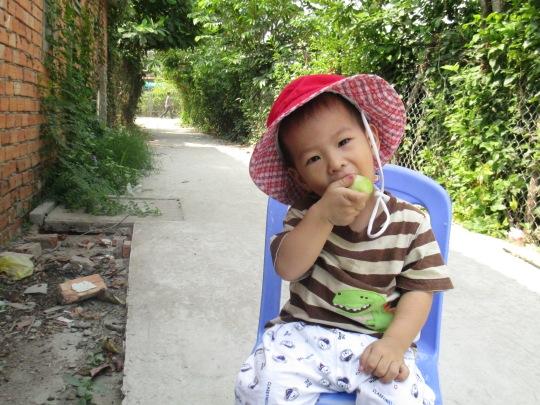 Minh Khôi ăn mận
